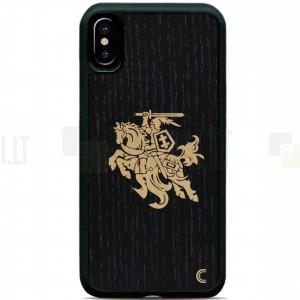"""Apple iPhone X (iPhone Xs) """"Crafted Cover"""" Juodas Vytis natūralaus medžio dėklas (šviesus medis)"""