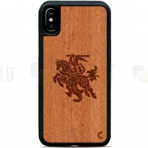 """Apple iPhone X (iPhone Xs) """"Crafted Cover"""" Vytis natūralaus medžio dėklas (šviesus medis)"""