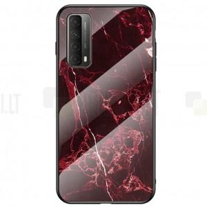 """Huawei P smart 2021 """"Marble"""" kieto silikono TPU juodas / raudonas dėklas - nugarėlė"""