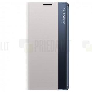 Huawei P smart 2021 View Line sidabrinis atverčiamas dėklas - knygutė
