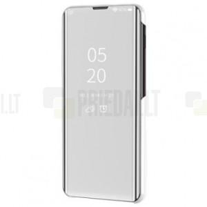 Huawei P smart 2021 plastikinis atverčiamas sidabrinis dėklas