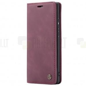 Huawei P30 Pro CaseMe Retro solidus atverčiamas bordo odinis dėklas - knygutė