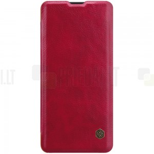 """Prabangus """"Nillkin"""" Qin serijos raudonas odinis atverčiamas Huawei P30 Pro dėklas - knygutė"""