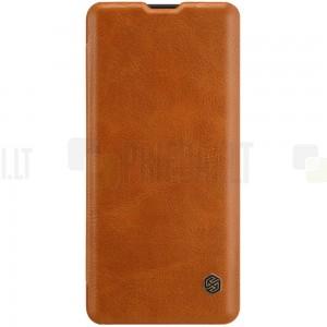"""Prabangus """"Nillkin"""" Qin serijos rudas odinis atverčiamas Huawei P30 Pro dėklas - knygutė"""