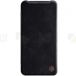 """Prabangus """"Nillkin"""" Qin serijos juodas odinis atverčiamas OnePlus 7 (OnePlus Seven) dėklas - knygutė"""