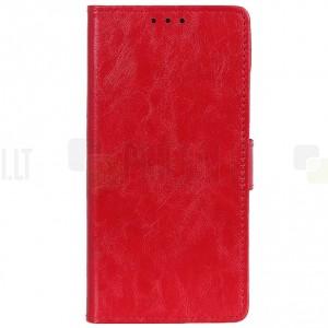 OnePlus 7 (OnePlus Seven) atverčiamas raudonas odinis dėklas, knygutė - piniginė