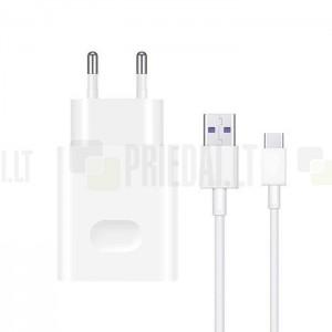 "Originalus ""Huawei"" SuperCharge Max 40W (HW-100400E00) baltas kelioninis (sieninis) įkroviklis + Type-C USB laidas"