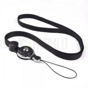 """""""Pattern"""" juodas raištelis (pakabukas) - dirželis telefonui"""