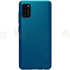 """Samsung Galaxy A41 """"Nillkin"""" Frosted Shield mėlynas plastikinis dėklas, nugarėlė"""