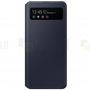 Samsung Galaxy A41 (A415F) originalus S View Wallet Cover atverčiamas juodas dėklas - knygutė