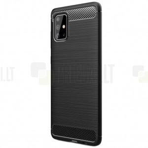 Samsung Galaxy A71 (A715F) Carbon kieto silikono TPU juodas dėklas - nugarėlė