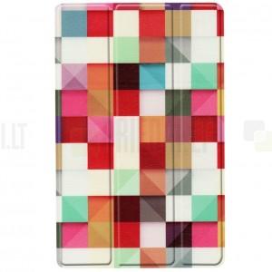Samsung Galaxy Tab A 10.1 2019 (T515, T510) atverčiamas Pattern, baltas odinis dėklas - knygutė