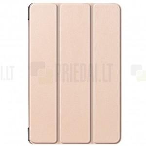 Samsung Galaxy Tab S5e (T720, T725) atverčiamas auksinis odinis dėklas - knygutė (sulankstomas)