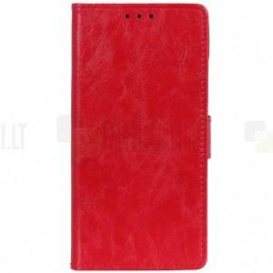 Sony Xperia 5 atverčiamas raudonas odinis dėklas - piniginė