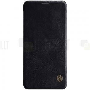 """Prabangus """"Nillkin"""" Qin serijos juodas odinis atverčiamas Xiaomi Mi 8 dėklas"""