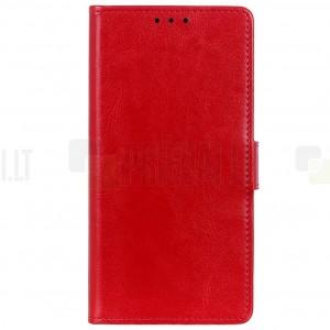 Xiaomi Mi 9 SE atverčiamas raudonas odinis dėklas - piniginė