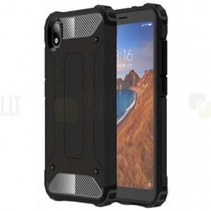 Sustiprintos apsaugos Xiaomi Redmi 7A juodas kieto silikono (TPU) ir plastiko dėklas
