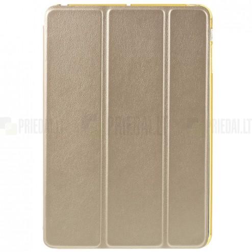 Apple iPad Mini 1 / 2 / 3 atverčiamas auksinis odinis dėklas - stovas