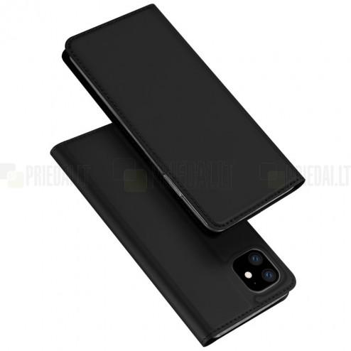 """""""Dux Ducis"""" Skin serijos Apple iPhone 11 juodas odinis atverčiamas dėklas"""