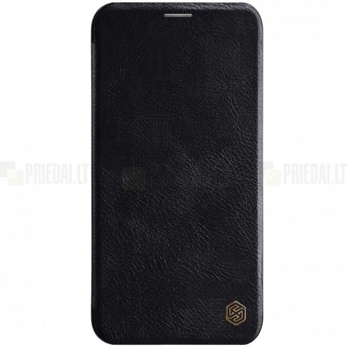 """Prabangus """"Nillkin"""" Qin serijos juodas odinis atverčiamas Apple iPhone 11 dėklas"""