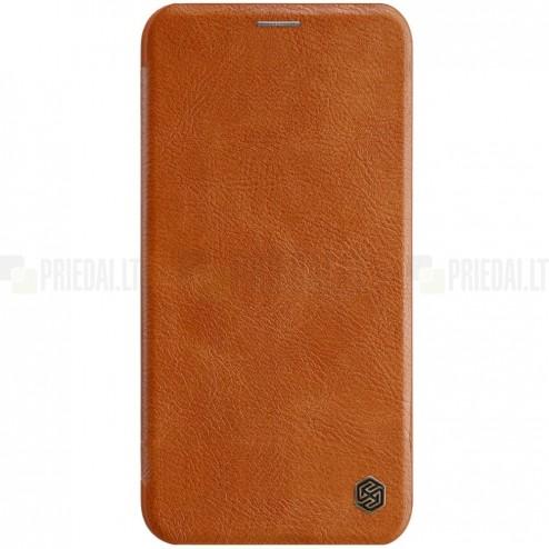 """Prabangus """"Nillkin"""" Qin serijos rudas odinis atverčiamas Apple iPhone 11 dėklas"""