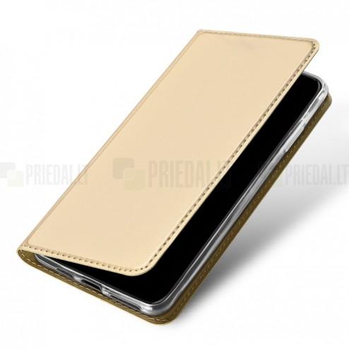 """""""Dux Ducis"""" Skin serijos Apple iPhone 11 Pro Max auksinis odinis atverčiamas dėklas"""