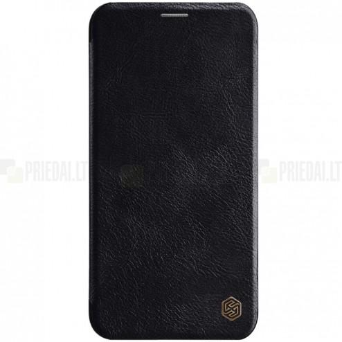 """Prabangus """"Nillkin"""" Qin serijos juodas odinis atverčiamas Apple iPhone 11 Pro dėklas"""