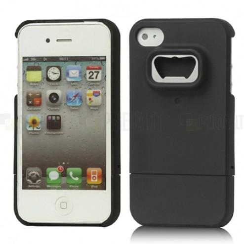 Juodos spalvos su metaline dalimi Apple iPhone 4, 4S dėklas - atidarytuvas