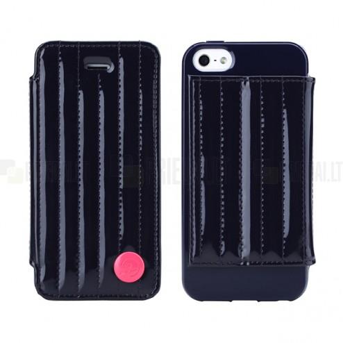 """Tamsiai mėlynas """"8thdays"""" Jessie's Melody prabangus atverčiamas Apple iPhone SE (5, 5s) dėklas (dėkliukas)"""