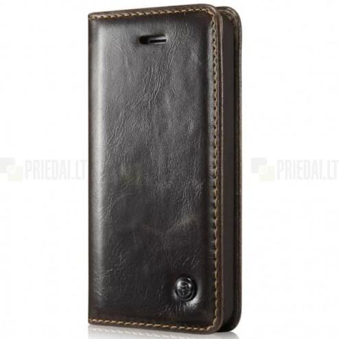 """Apple iPhone SE (5, 5s) """"CaseMe"""" solidus atverčiamas rudas odinis dėklas - knygutė"""