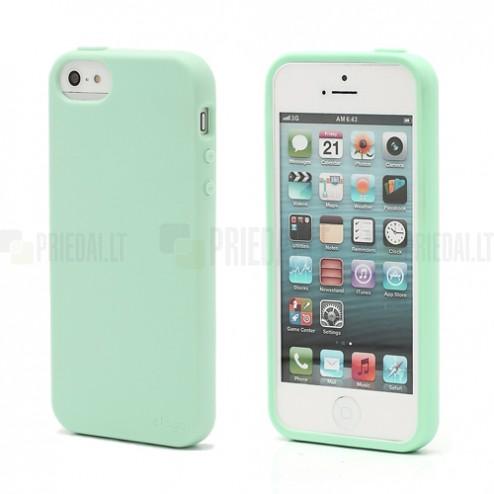 """Žalias (mėtinis) """"Elago"""" kieto silikono Apple iPhone SE (5, 5s) dėklas (dėkliukas) su apsaugine ekrano plėvele"""