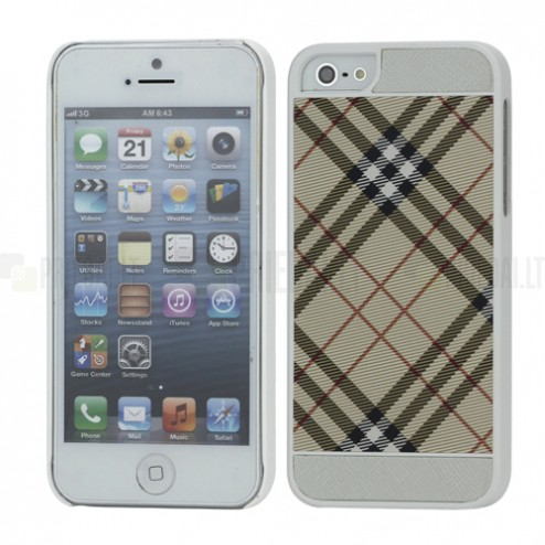 """""""Burberry"""" stiliaus šviesiai rudas Apple iPhone SE (5, 5s) dėklas (dėkliukas)"""