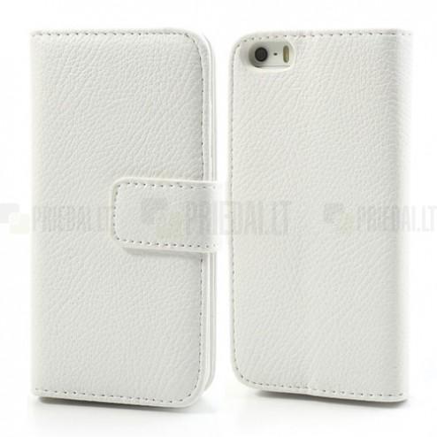 """""""Lychee"""" atverčiamas dirbtinės odos baltas Apple iPhone SE (5, 5s) dėklas (dėkliukas)"""