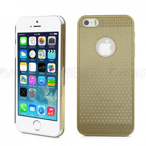 Stilingas auksinis, metalinis Apple iPhone SE (5, 5s) dėklas (dėkliukas) raižytas gėlytėmis