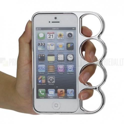 Sidabrinis, plastikinis Apple iPhone SE (5, 5s) dėklas (rėmelis ) - kastetas