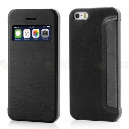 """Atverčiamas juodas """"S-View"""" stiliaus Apple iPhone SE (5, 5s) dėklas"""