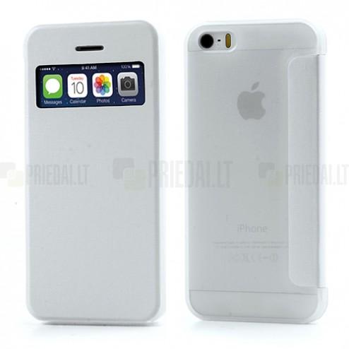 """Atverčiamas baltas """"S-View"""" stiliaus Apple iPhone SE (5, 5s) dėklas"""