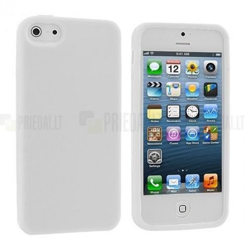 """Apple iPhone SE (5, 5s) """"Rubber"""" kieto silikono baltas TPU dėklas - nugarėlė"""