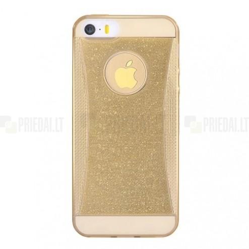 Apple iPhone SE (5, 5s) Devia Shining plonas skaidrus (permatomas) silikoninis TPU auksinis dėklas