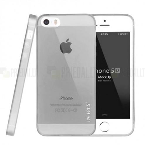 Apple iPhone SE (5, 5s) Leiers skaidrus pilkas kieto silikono TPU ploniausias pasaulyje dėklas