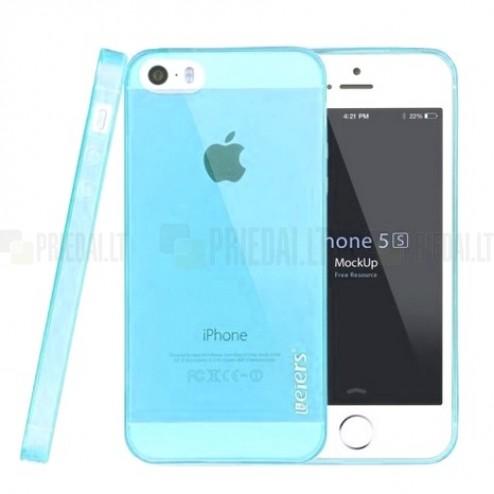 Apple iPhone SE (5, 5s) Leiers skaidrus šviesiai mėlynas kieto silikono TPU ploniausias pasaulyje dėklas