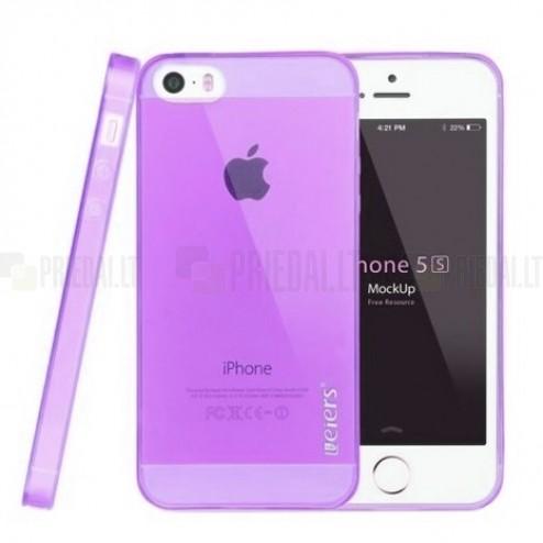Apple iPhone SE (5, 5s) Leiers skaidrus violetinis kieto silikono TPU ploniausias pasaulyje dėklas