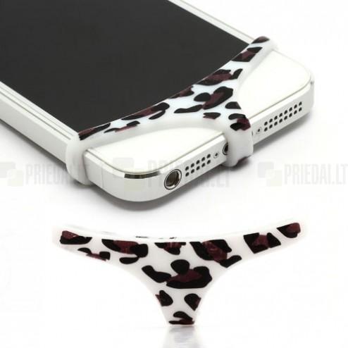 """Telefono balti, leopardiniai, minkšto silikono apatiniai (""""triusikai"""")"""