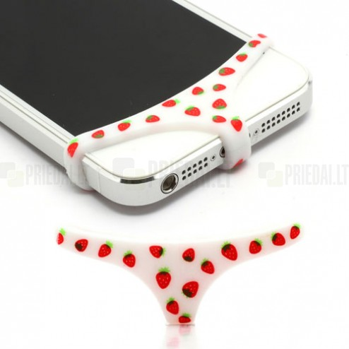 """Telefono balti, braškiniai, minkšto silikono apatiniai (""""triusikai"""")"""