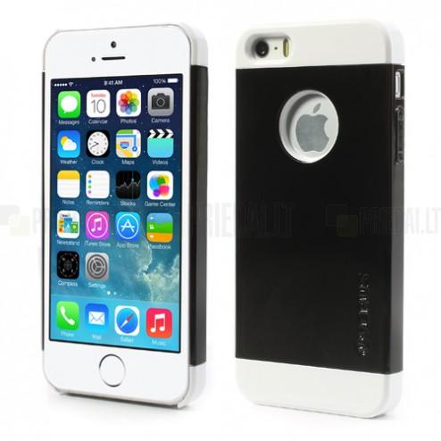 """Juodas su baltomis """"VERUS"""" išskaidomas plastikinis Apple iPhone SE (5, 5s) dėklas"""