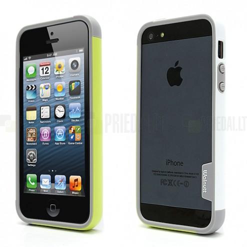 """Baltos, žalios ir pilkos spalvų """"Walnutt"""" Trio kieto silikono (TPU) Apple iPhone SE (5, 5s) dėklas (rėmelis) - kraštų apvadas, bamperis"""