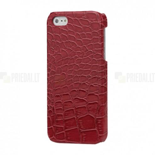 Apple iPhone SE (5, 5s) raudonas dėklas su krokodilo odos imitacija