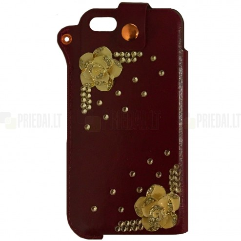 Apple iPhone SE (5, 5s) Fashion Leather bordo spalvos įmautė
