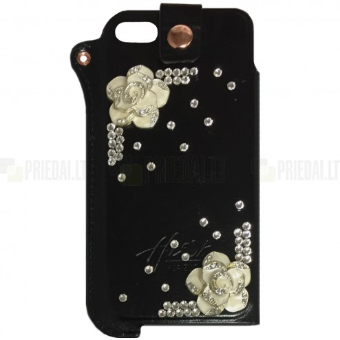 Apple iPhone SE (5, 5s) Fashion Leather juoda įmautė