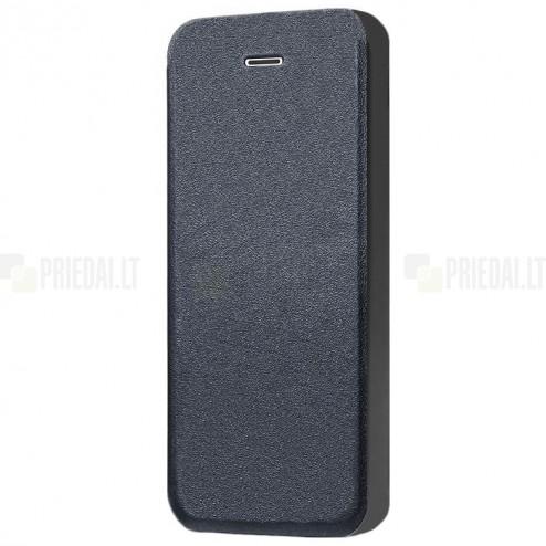 """Apple iPhone SE (5, 5s) """"Shiny"""" atverčiamas juodas odinis dėklas - knygutė"""